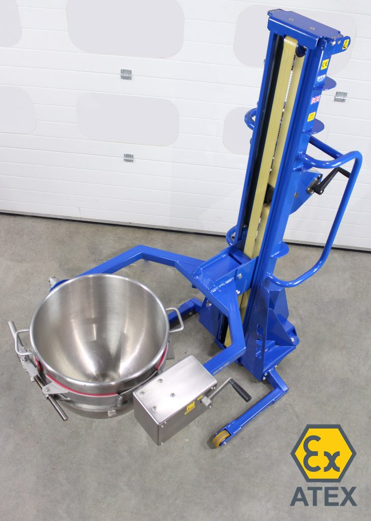 ATEX bowl rotator with stainless steel Hobart bowl in rotator head