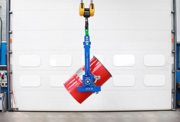 Overhead Drum Tipper for use with an overhead crane.