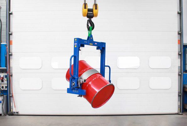 Image of a overhead drum rotator on crane