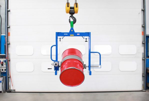 Front image of the Overhead Drum Tipper - Fork pockets suitable for use with a forklift.