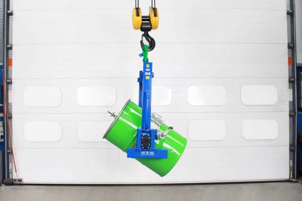 Overhead crane tipper decanting a 200 litre steel barrel