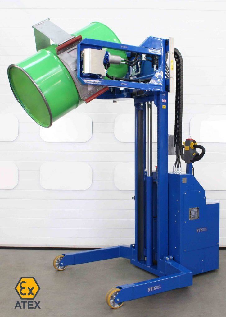 Our power-drive pneumatic-hydraulic drum rotators can be supplied ATEX-compliant