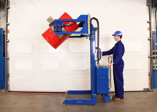 Power Clamp Drum Rotator tipping a 200 litre drum