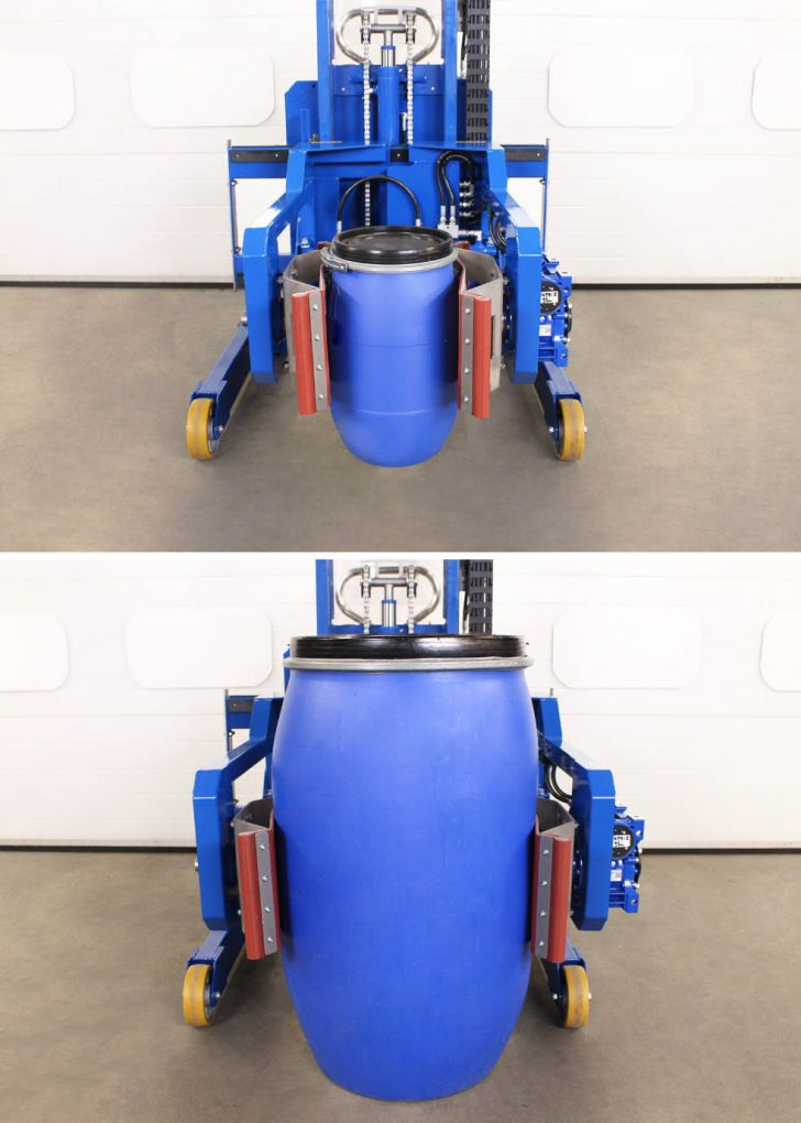 50 litre and 200 litre MAUSER drum in a power clamp drum tipper