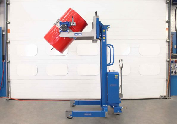 ATEX Pneumatic Drum tipper in the decanting position