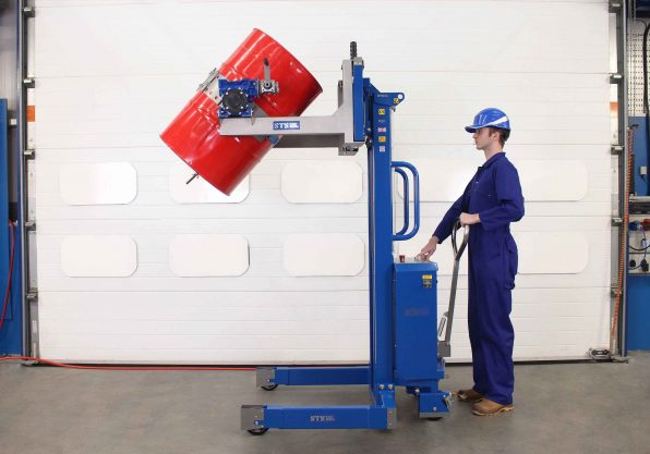 ATEX Pneumatic Drum tipper suitable for zoned areas tipping a 200 litre steel drum