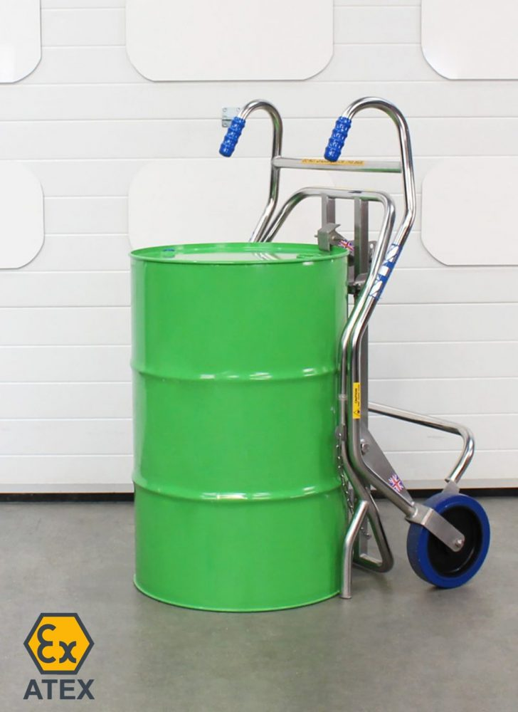 ATEX drum trolley with tight-head drum standing upright on the ground