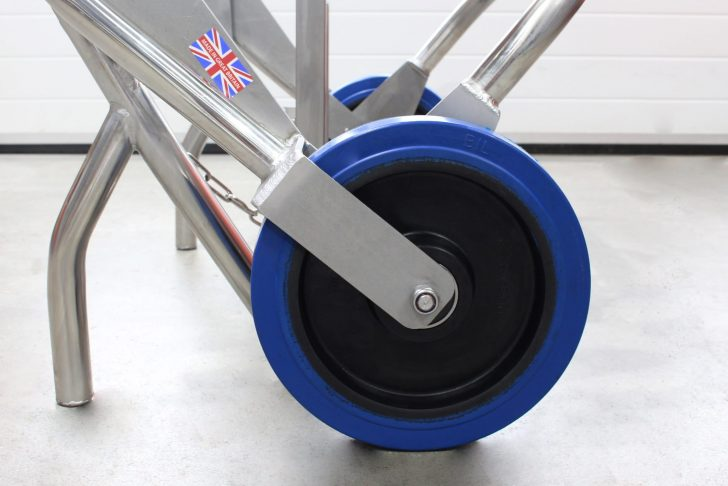 A closeup of the high quality wheels fitted to the STS drum trolley