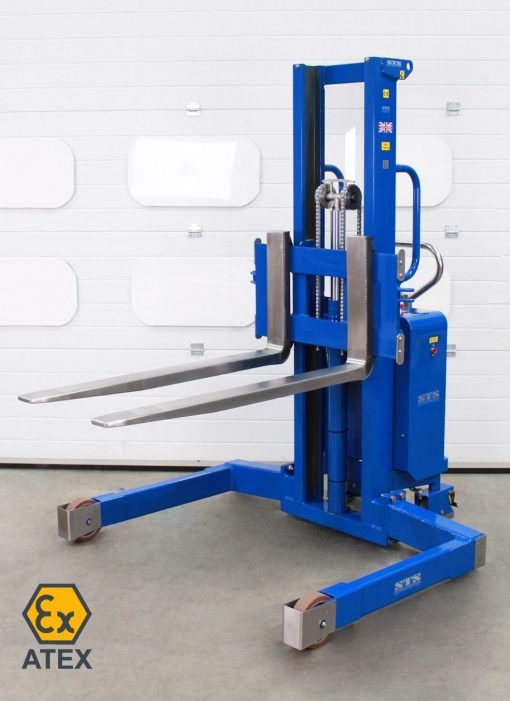 Front view of an ATEX IBC lifter with stainless steel forks raised.