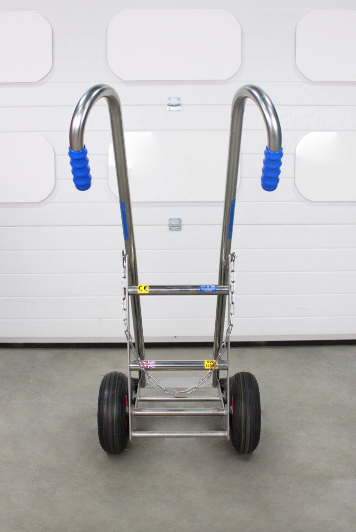 Detailed look at stainless steel LPG cylinder trolley.
