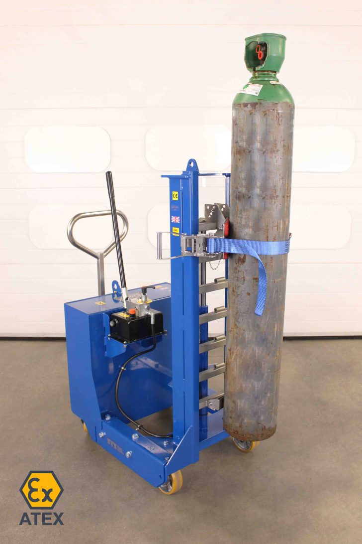 Counterbalance cylinder lifter holds a gas bottle at height in an ATEX zoned environment.