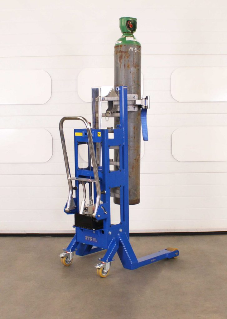 Side view of a gas bottle cylinder lifter.