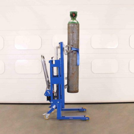 Cylinder lifter holds gas bottle at height.