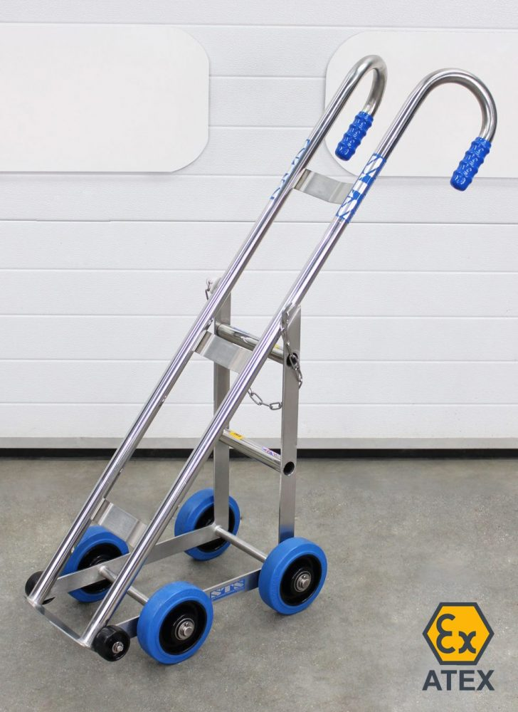 Stainless steel ATEX cylinder trolley without cylinder loaded