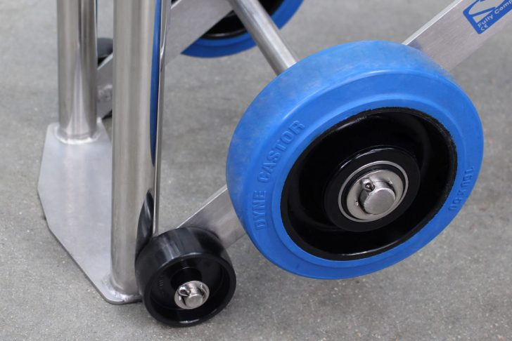 The detail of the wheels on the Gas Cylinder Trolley, which offer exceptional manoeuvrability