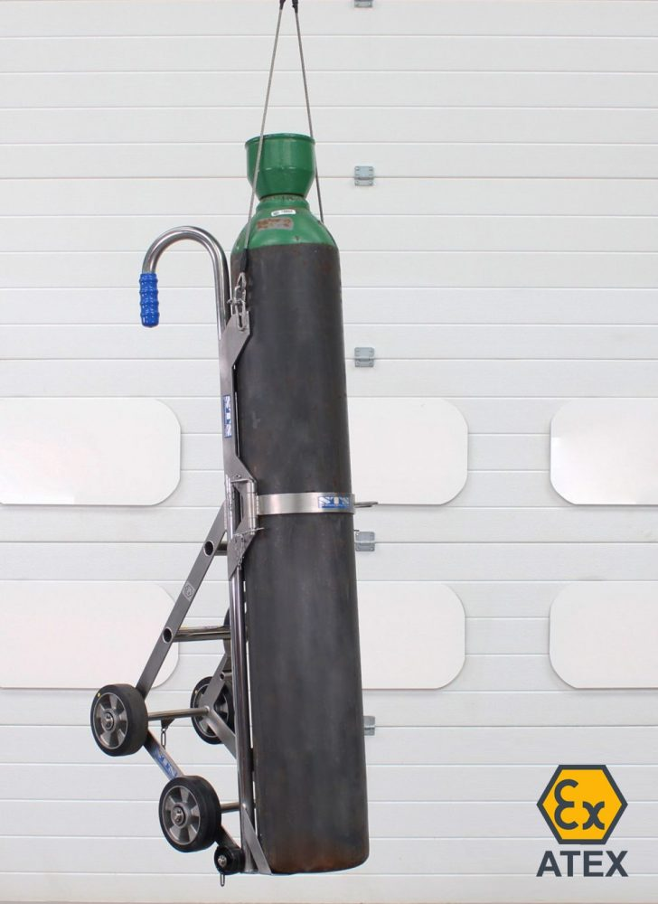 High-pressure cylinder secured in overhead ATEX gas trolley