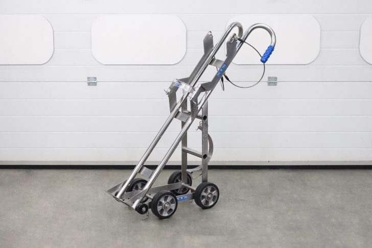 A side view of the gas bottle trolley
