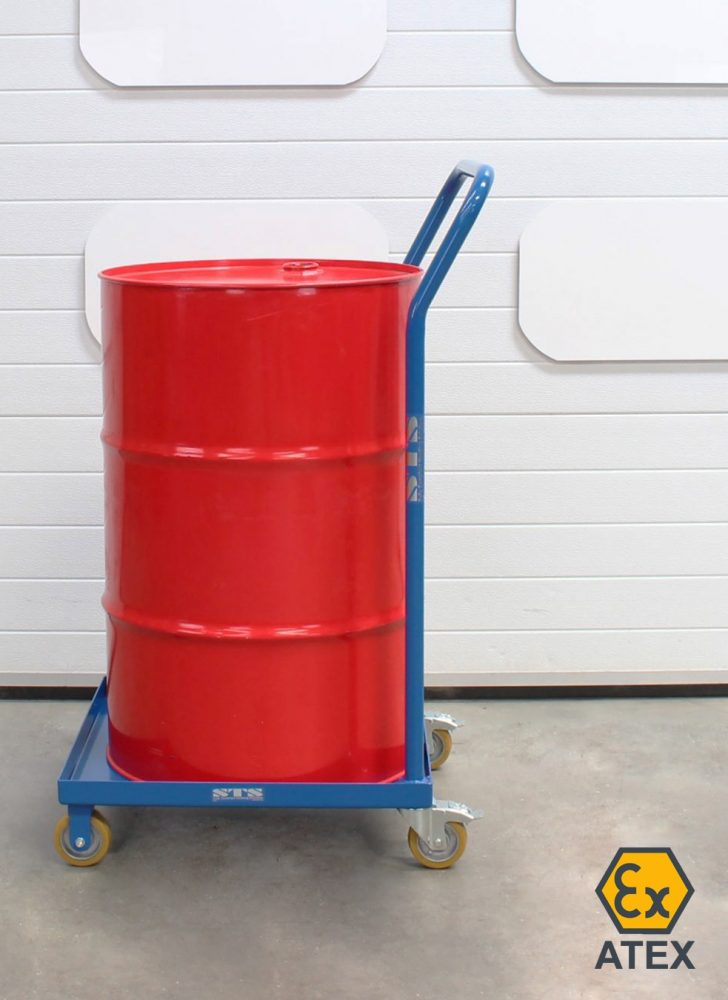 205L oil drum loaded onto an ATEX drum dolly with handle.
